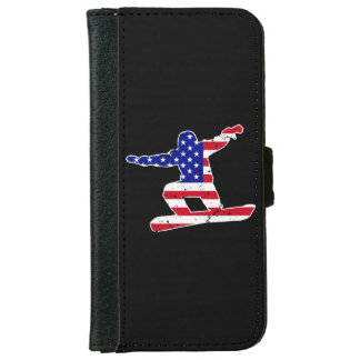 Stars 'n' Stripes SNOWBOARDER (wht) iPhone 6 Wallet Case