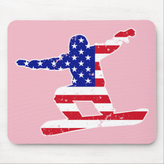 Stars 'n' Stripes SNOWBOARDER (wht) Mouse Pad