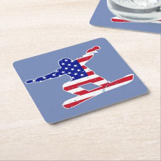 Stars 'n' Stripes SNOWBOARDER (wht) Square Paper Coaster