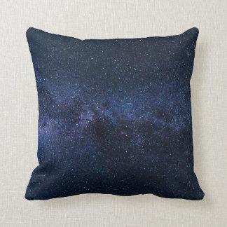 Stars Night Sky Midnight Blue & Black Milky Way Throw Pillow