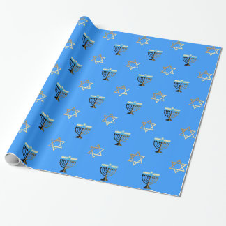 Stars of David and Menorahs on a Blue Background Wrapping Paper