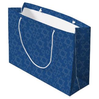 Stars Of David On Blue - Large Gift Bag