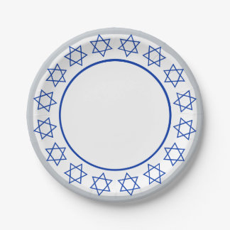 Stars of David Wreath Paper Plate