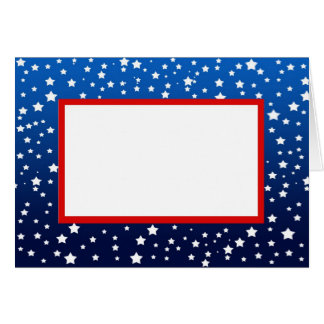 Stars on Blue Gradient & Red Border Note Card