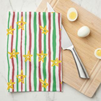 Stars on Christmas Stripes Kitchen Towel
