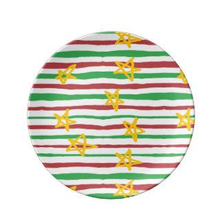 Stars on Christmas Stripes Plate