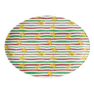 Stars on Christmas Stripes Porcelain Serving Platter