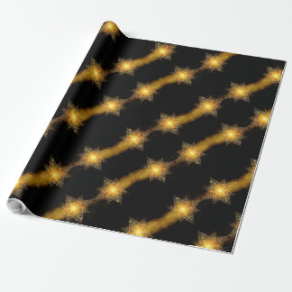 Stars Pattern Black and Gold Star Lights Elegant Wrapping Paper