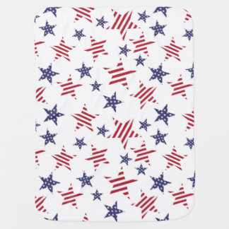 Stars pattern in color of the USA flag Stroller Blanket