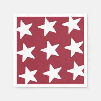 Stars Pattern - Patriotic Red Disposable Napkins
