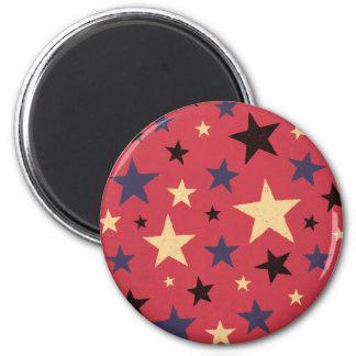Stars Pattern Red 2 Inch Round Magnet