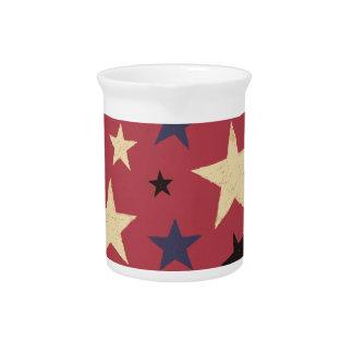 Stars Pattern Red Beverage Pitcher