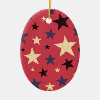 Stars Pattern Red Ceramic Oval Ornament