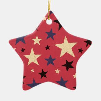 Stars Pattern Red Ceramic Star Ornament