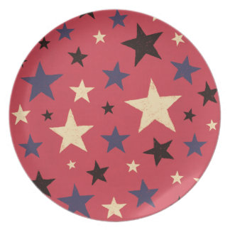 Stars Pattern Red Dinner Plates
