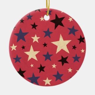 Stars Pattern Red Round Ceramic Ornament