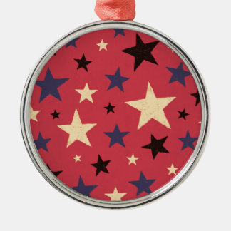 Stars Pattern Red Silver-Colored Round Ornament