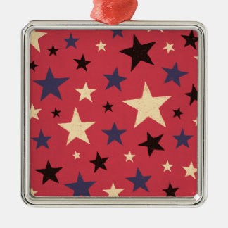 Stars Pattern Red Silver-Colored Square Ornament
