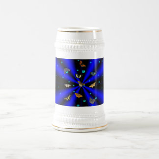 Stars, pearls and Butterfly on black and blue 18 Oz Beer Stein