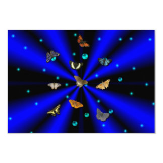 """Stars, pearls and Butterfly on black and blue 3.5"""" X 5"""" Invitation Card"""