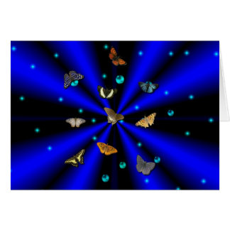 Stars, pearls and Butterfly on black and blue Note Card