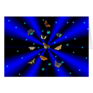 Stars, pearls and Butterfly on black and blue Greeting Card