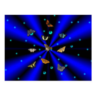 Stars, pearls and Butterfly on black and blue Postcard