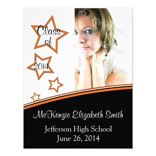 Stars Photo Graduation Invite, Black & Orange