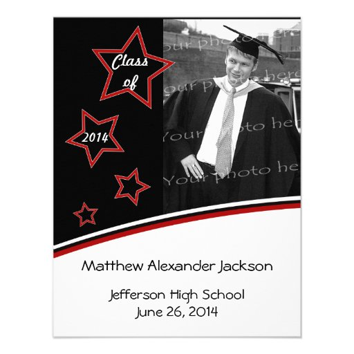 Stars Photo Graduation Party Invite, Black and Red