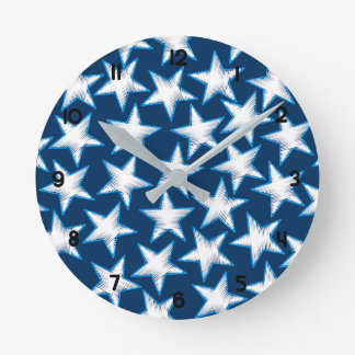 Stars printed embroidery round clock