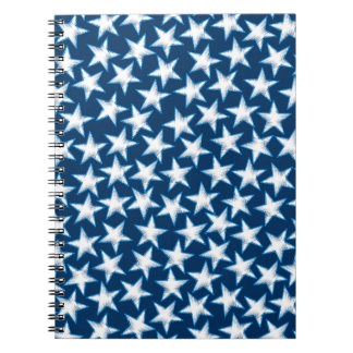 Stars printed embroidery spiral note books
