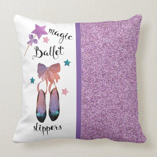 Stars Purple Glitter and Magic Ballet Slippers Throw Pillow