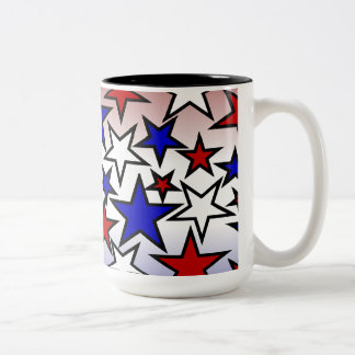 Stars (Red, White and Blue) Two-Tone Coffee Mug