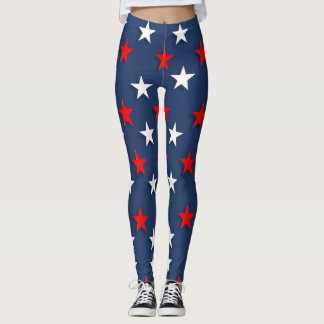 Stars Red White Blue Patriotic 4th July Leggings