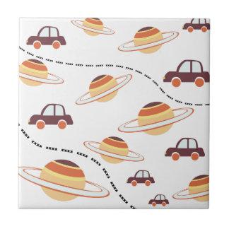 Stars, roads, and cars ceramic tile