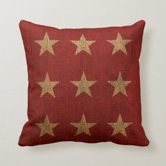 Stars Rustic Red and Natural Throw Pillow