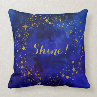 "Stars & ""Shine"" in Gold on Blue Watercolor Throw Pillow"