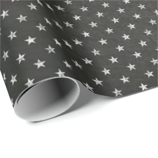 Stars Sky Black  White Night  Chalkboard  Delicate Wrapping Paper