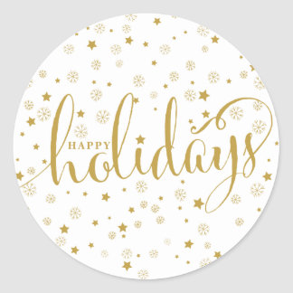 Stars & Snowflakes Happy Holidays Sticker