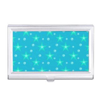 Stars Starry Bubbles Blue Mermaid Fantasy Nautical Business Card Holder