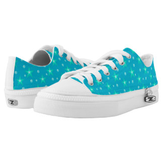 Stars Starry Bubbles Blue Mermaid Fantasy Nautical Low-Top Sneakers