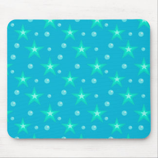 Stars Starry Bubbles Blue Mermaid Fantasy Nautical Mouse Pad