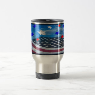stars stripes American flag stainless travel mug