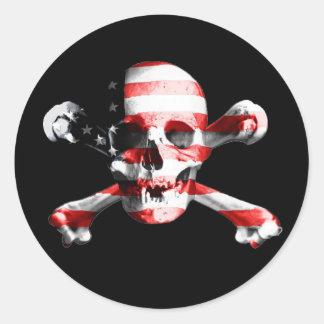 Stars, Stripes and Skull Jolly Roger Round Sticker