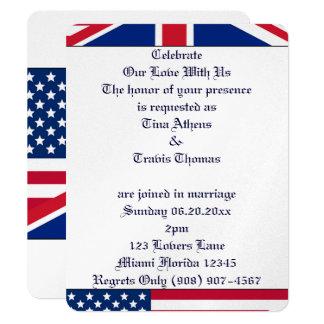"Stars Stripes Flag Love Wedding Bride Groom Peace 4.25"" X 5.5"" Invitation Card"