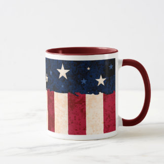Stars & Stripes Folk Art Style USA Flag Patriotic Mug