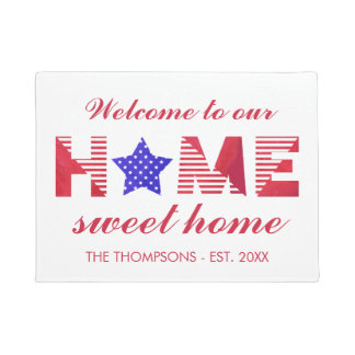Stars & Stripes Home Sweet Home Family Name Doormat
