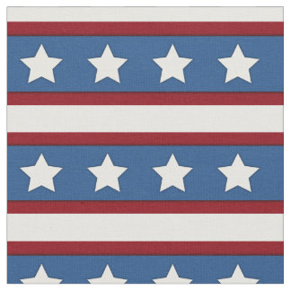 Stars & Stripes horizontal red white blue Fabric