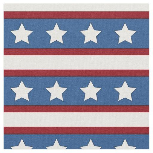 Stars & Stripes horizontal red white blue Fabric