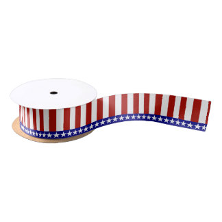 Stars & Stripes of Red White And Blue Satin Ribbon